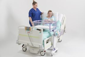 Height Adjustable Cot, mother and midwife