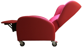 Red hospital recliner chair for visitors