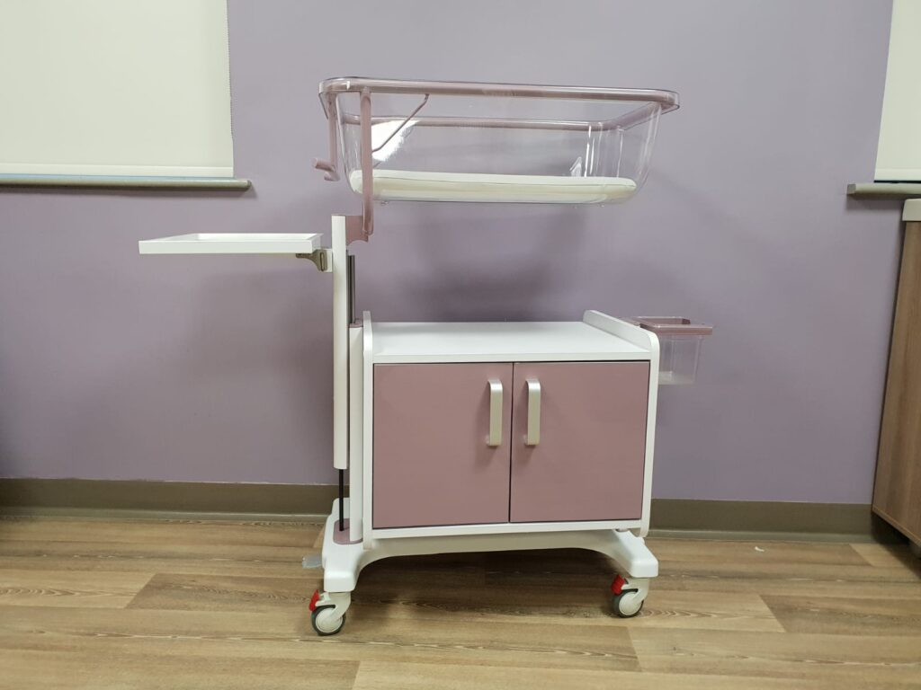 Lavender variable height crib with storage